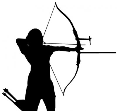 Aufkleber Bogenschützin